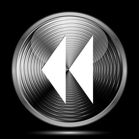 rewind: Rewind icon. Internet button on black background.
