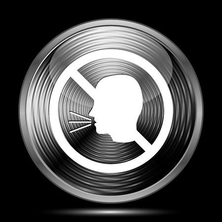 no talking: No talking icon. Internet button on black background.