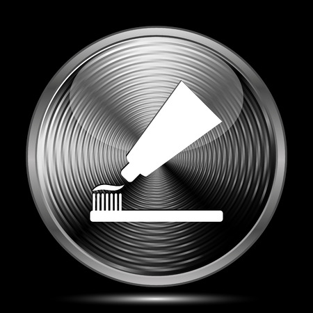 toothbrushing: Tooth paste and brush icon. Internet button on black background.
