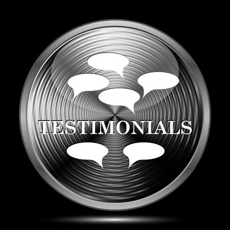authenticate: Testimonials icon. Internet button on black background. Stock Photo