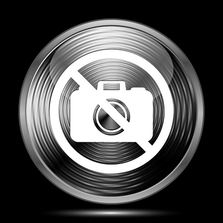 no cameras allowed: Forbidden camera icon. Internet button on black background. Stock Photo
