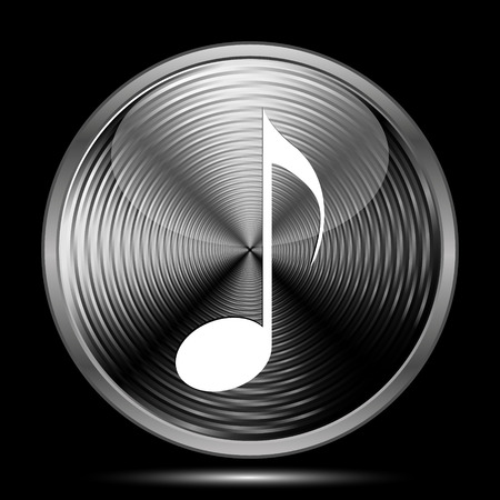 melodic: Musical note icon. Internet button on black background.