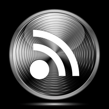 meta: Rss sign icon. Internet button on black background.