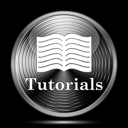 tutorials: Tutorials icon. Internet button on black background.