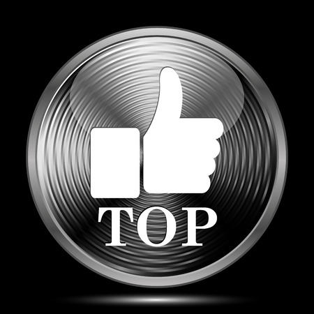 best rated: Top icon. Internet button on black background. Stock Photo