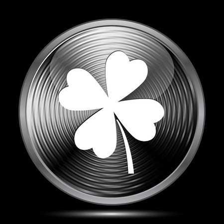 clover button: Clover icon. Internet button on black background.
