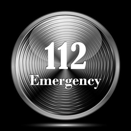 bad service: 112 Emergency icon. Internet button on black background.