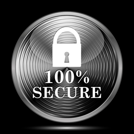 100 percent secure icon. Internet button on black background.