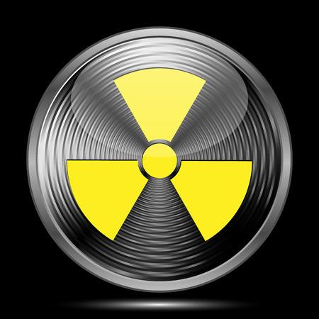 caution chemistry: Radiation icon. Internet button on black background.