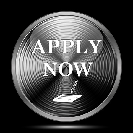 apply now: Apply now icon. Internet button on black background. Stock Photo