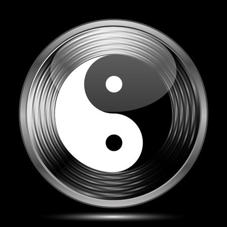 yinyang: Ying yang icon. Internet button on black background.
