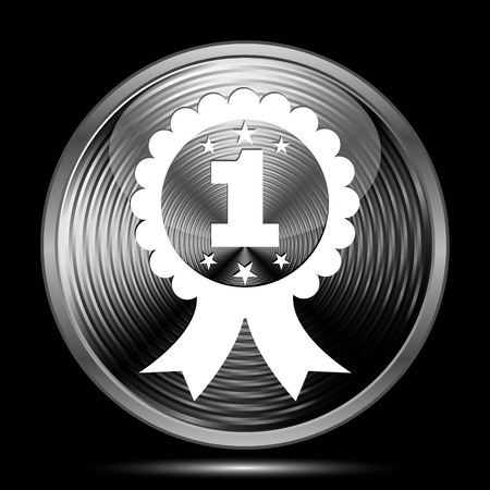 first prize: First prize ribbon icon. Internet button on black background.