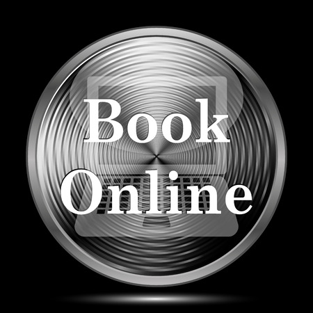 purchase book: Book online icon. Internet button on black background.