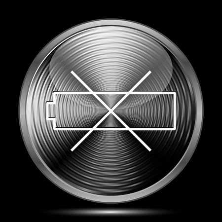 Empty battery icon. Internet button on black background.
