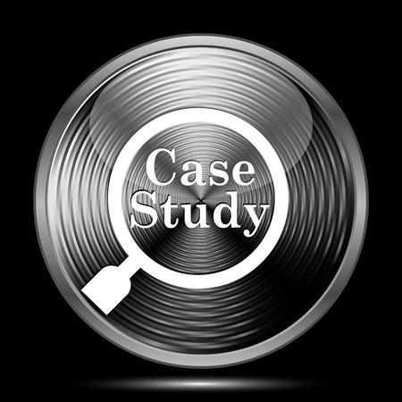 study icon: Icono Estudio de caso. Bot�n de internet sobre fondo negro. Foto de archivo
