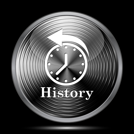 black history: History icon. Internet button on black background.