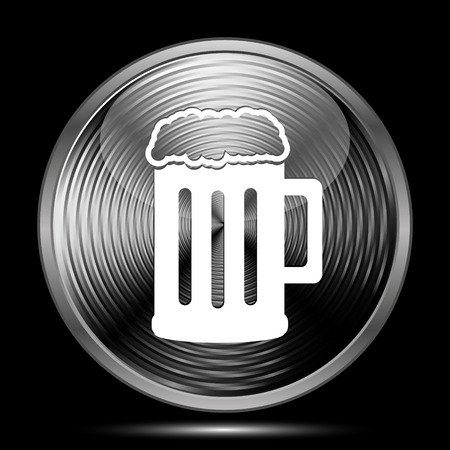 Beer icon. Internet button on black background. Stock Photo