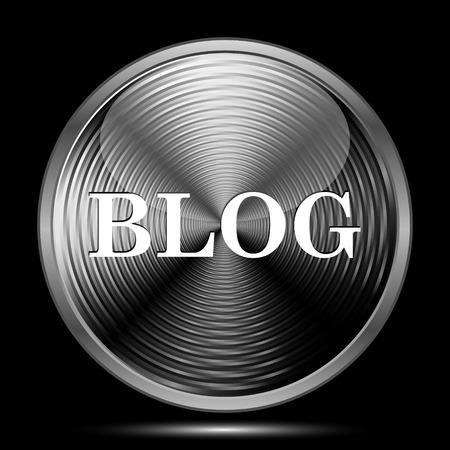 informing: Blog icon. Internet button on black background.