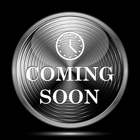 on coming: Coming soon icon. Internet button on black background.