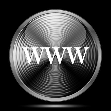 www icon: WWW icon. Internet button on black background.