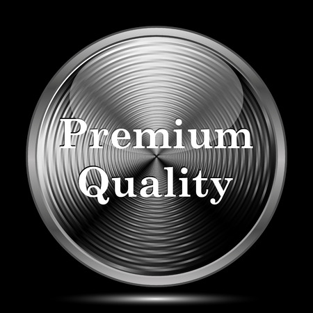 first rate: Premium quality icon. Internet button on black background. Stock Photo