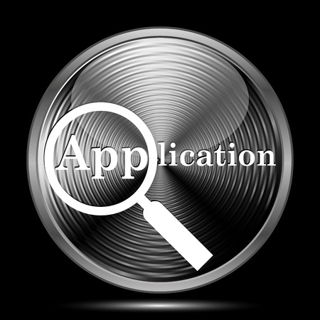 requisition: Application icon. Internet button on black background.