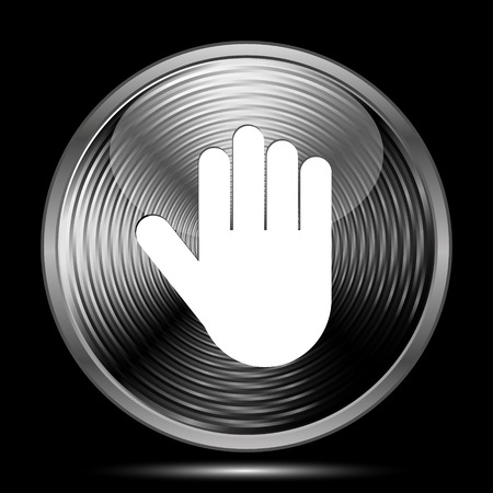 restrictive: Stop icon. Internet button on black background. Stock Photo