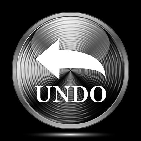 undo: Undo icon. Internet button on black background. Stock Photo