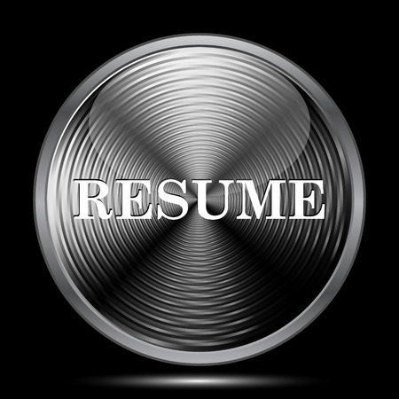 unoccupied: Resume icon. Internet button on black background. Stock Photo