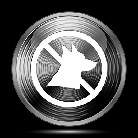 refused: Forbidden dogs icon. Internet button on black background. Stock Photo