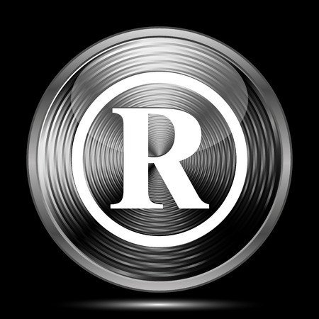 registered: Registered mark icon. Internet button on black background. Stock Photo