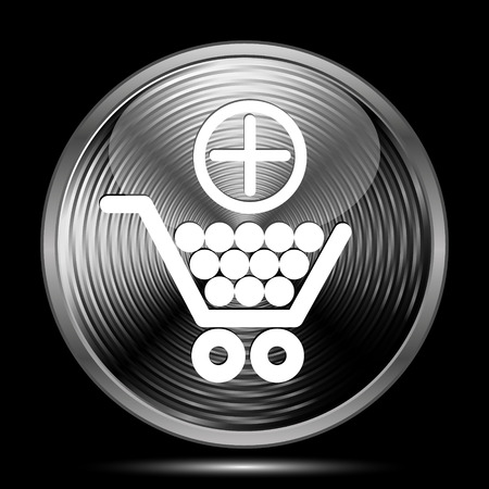 add button: Add to shopping cart icon. Internet button on black background. Stock Photo