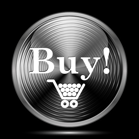 buy icon: Buy icon. Internet button on black background.