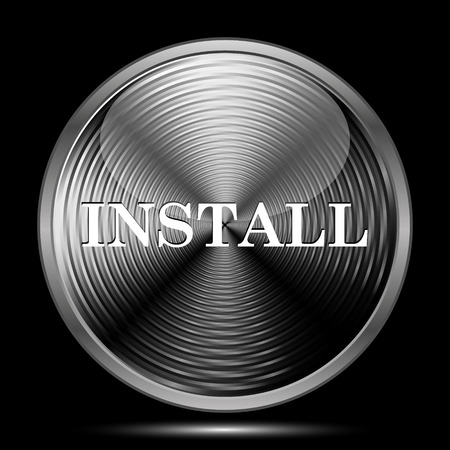 operative: Install icon. Internet button on black background.