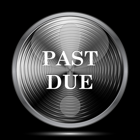 past: Past due icon. Internet button on black background.