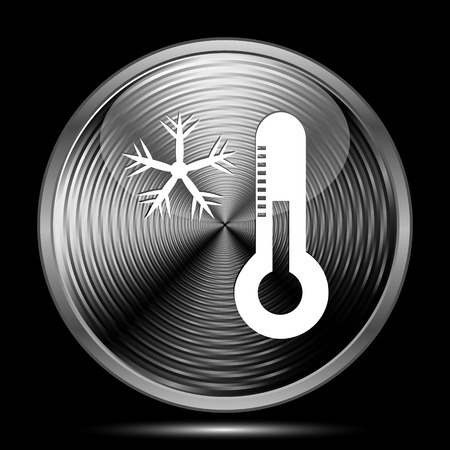 coldness: Snowflake with thermometer icon. Internet button on black background. Stock Photo