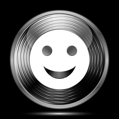 smily: Smiley icon. Internet button on black background.