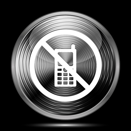 refrain: Mobile phone restricted icon. Internet button on black background.
