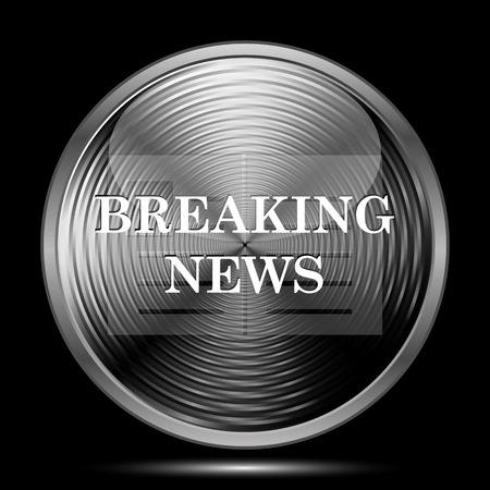 newsflash: Breaking news icon. Internet button on black background. Stock Photo