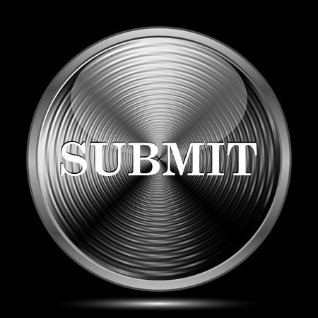 submit: Submit icon. Internet button on black background.
