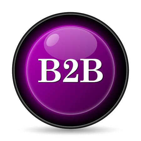 b2b: Icono B2B. Bot�n de internet sobre fondo blanco.