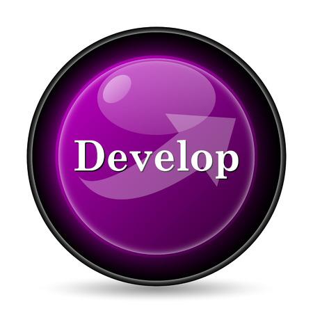 course development: Develop icon. Internet button on white background.