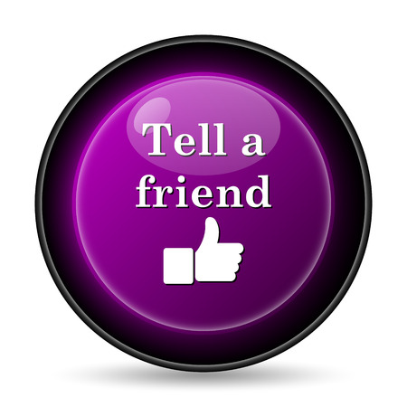 Tell a friend icon. Internet button on white background. Stock Photo