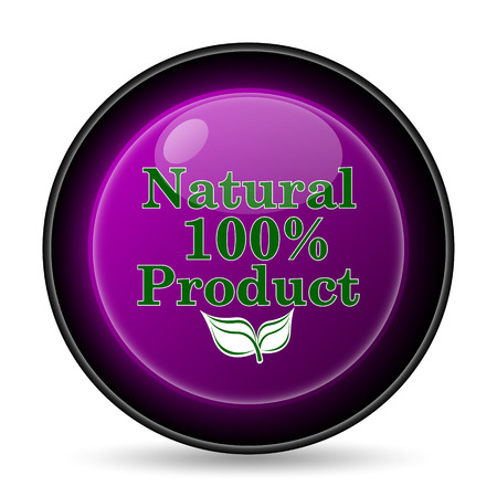 product icon: 100 percent natural product icon. Internet button on white background.