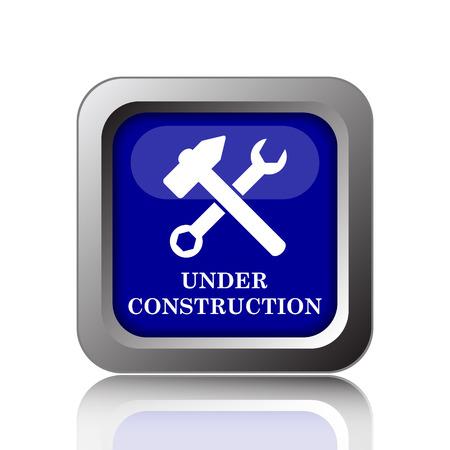 under construction icon: Under construction icon. Internet button on white background.