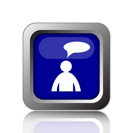 comments: Comments icon. Internet button on white background. - man with bubble
