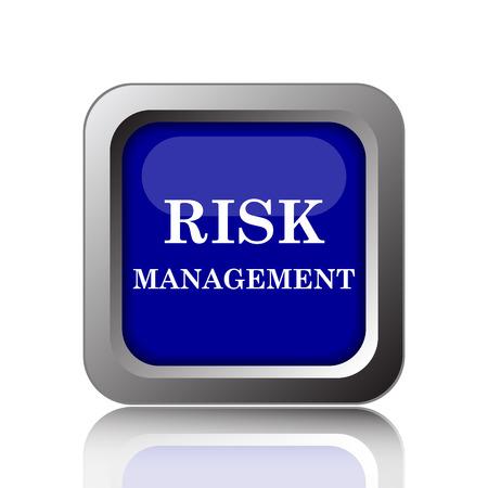 Das Risikomanagement-Symbol. Internet-Taste auf weißem Hintergrund.