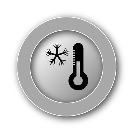 drifting: Snowflake with thermometer icon. Internet button on white background.