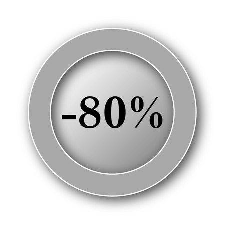 80: 80 percent discount icon. Internet button on white background.