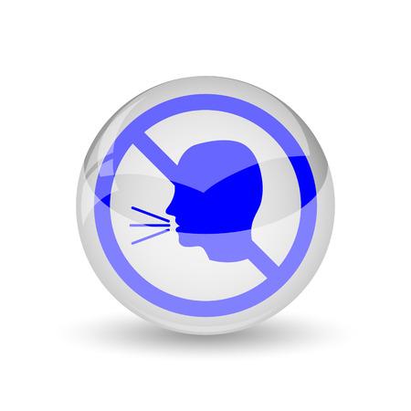 guardar silencio: No aparece el icono de conversaci�n. Bot�n de internet sobre fondo blanco. Foto de archivo
